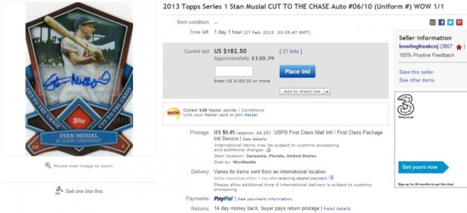 2013 Topps 'Cut to the Chase' Stan Musial #'d6/10 1/1?