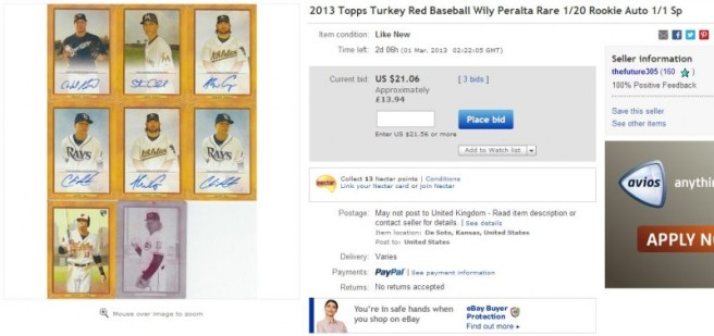 2013 Turkey Red Wily Peralta Auto #'d1/20 1/1?